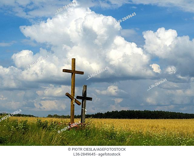 Poland, Podlasie region, old and new cross. Typical in the eastern part of Poland