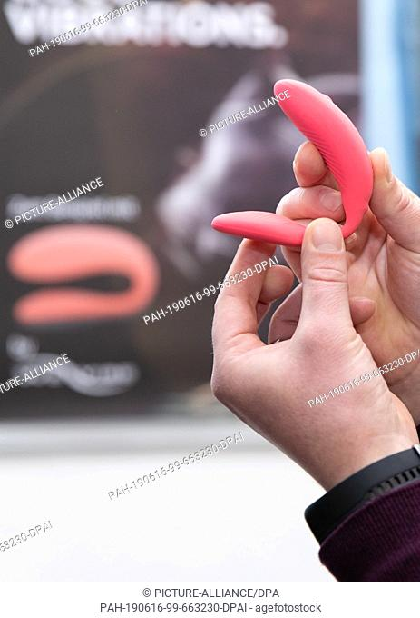 16 May 2019, North Rhine-Westphalia, Bielefeld: A pair vibrator is shown by one of the company founders. It is one of the articles which is available in the...