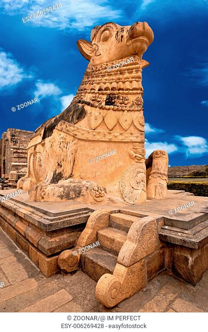 Big statue of Nandi Bull in front of Hindu Gangaikonda Cholapuram Temple. In Hinduism Nandi is a Shiva vehicle. South Indian architecture