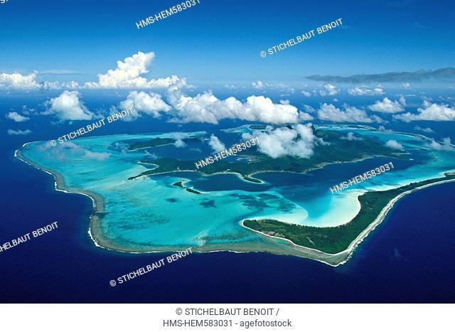 France, French Polynesia, Leeward archipelago, Bora Bora aerial view
