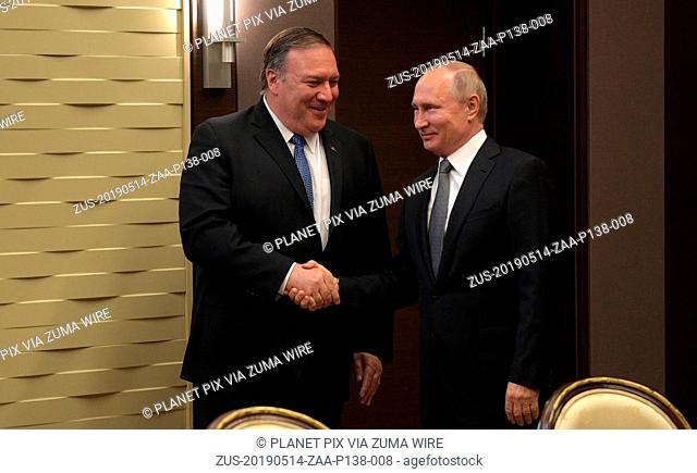 May 14, 2019 - Sochi, Russia - Russian President Vladimir Putin, right, welcomes U.S. Secretary of State Mike Pompeo prior to a bilateral meeting May 14