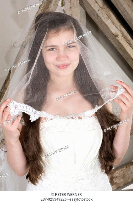 portrait of a young bride in a wedding dress