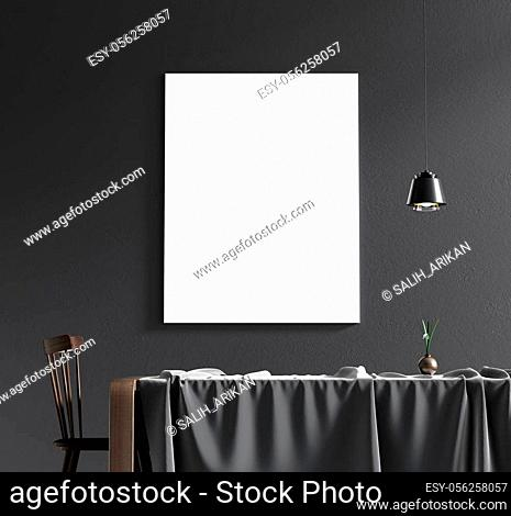 Mock up poster frame in scandinavian style interior. Minimalist interior design. 3D illustration