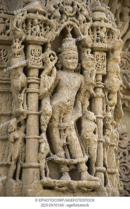 Carving details on the pillar of the Sun Temple. Built in 1026 - 27 AD during the reign of Bhima I of the Chaulukya dynasty, Modhera village of Mehsana district