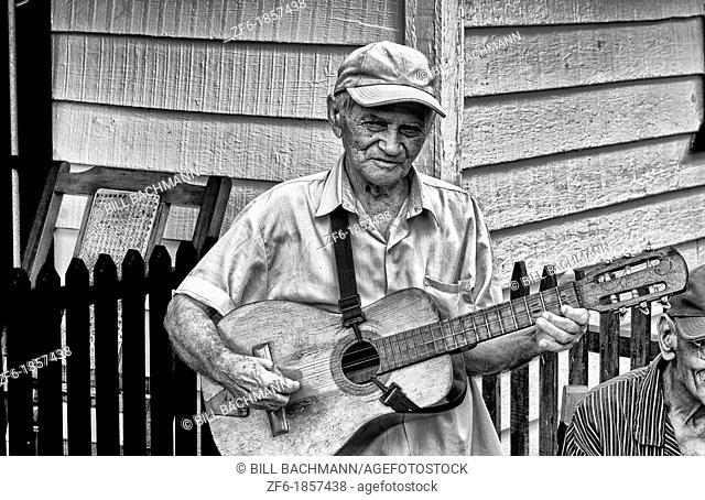 Portrait of old man musican singer in Sierra del Rosario in Cuba