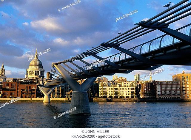 Millennium bridge and St Pauls, London, England