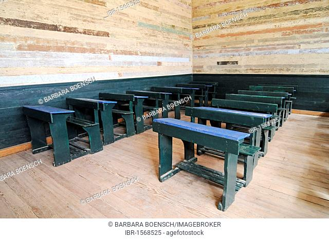 Old school desks, benches, school, Humberstone, salpetre works, abandoned salpetre town, ghost town, desert, museum, UNESCO World Heritage Site, Iquique