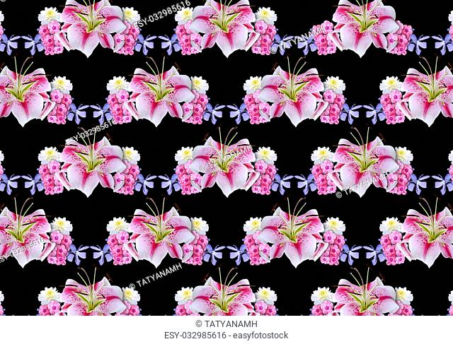 Abstract black background?covered with garlands of white lilies, asters, periwinkle