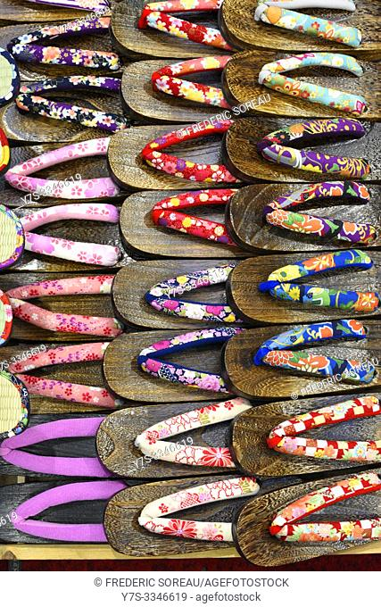 Traditional slippers for sale in the Asakusa district of Tokyo, Japan, Asia