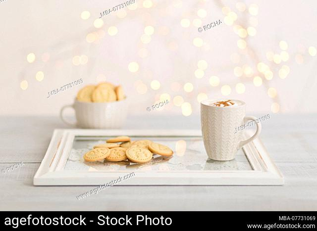 Bowl, Christmas biscuits, table, tablet, white coffee