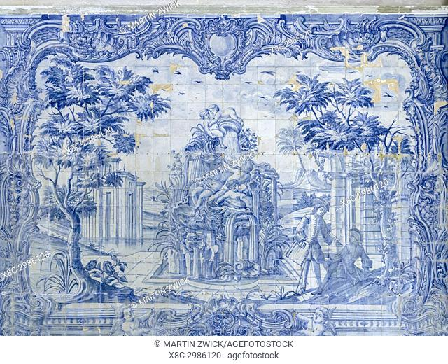 Palacio Nacional de Sintra, the national palace in Sintra, near Lisbon, part of the UNESCO world heritage. Decoration with traditional blue and white azulejos...