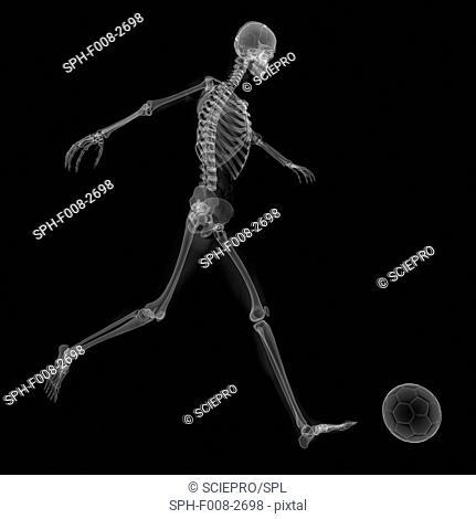 Skeleton playing football, conceptual computer artwork