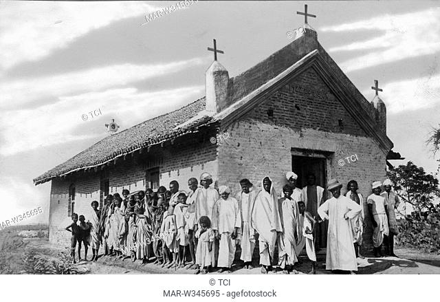 asia, india, group of boys with missionary at the chapel bonnapadu, 1930-40