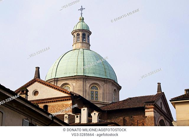 Vigevano, Pavia, Lombardy, Northern Italy. The cathedral of Sant'Ambrogio (St. Ambrose) or Duomo of Vigevano. It was started by Francesco II Sforza in 1532