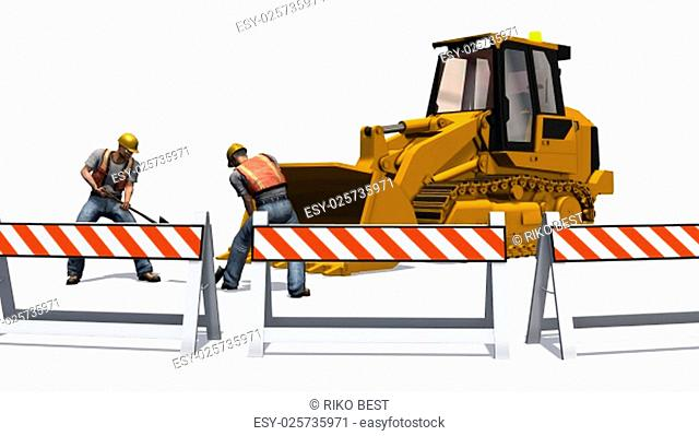 wheel loaders bulldozers and construction workers on construction site isolated on white background