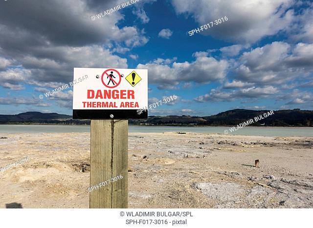 Sign at Lake Rotorua thermal area, New Zealand