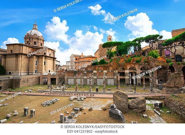 Foro di Cesare, part of Roman Forum in Italy