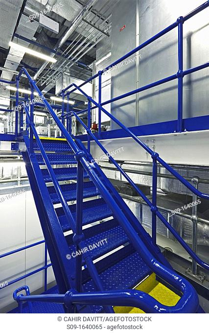 Plantroom area and blue staircase in Pharmacutical Facility, Damastown, Co  Dublin, Ireland