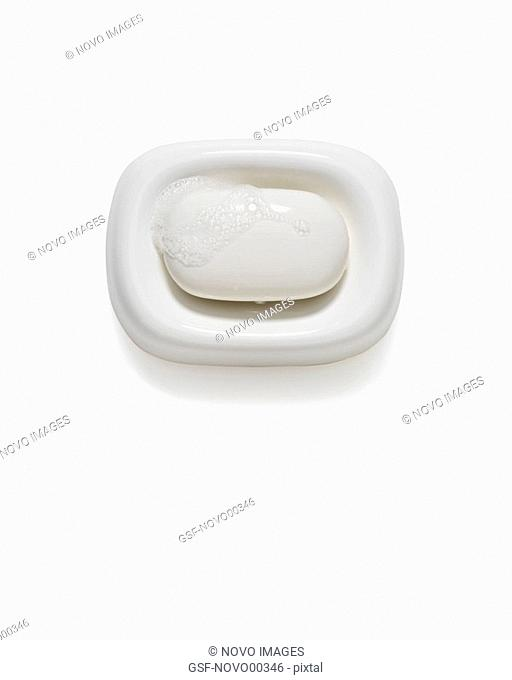 White Bar of Soap in Dish