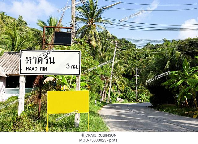 Signpost to Haad Rin, Koh Pha Ngan, Thailand