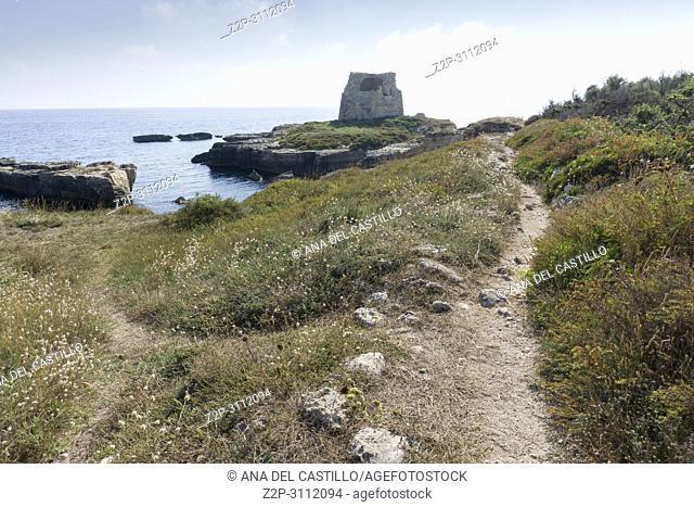 The most beautiful coast of Apulia: Torre Dell'Orso Bay in Puglia Italy Rocca Vecchia ruines