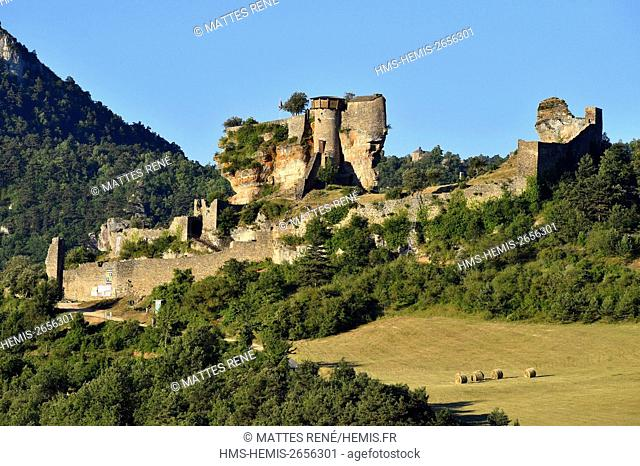 France, Aveyron, Riviere sur Tarn, Peyrelade castle of the 11th century dominating the Gorges du Tarn