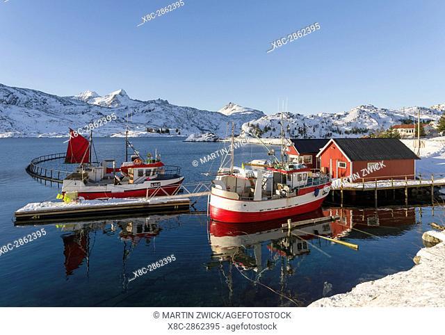 The harbour of Morkveden, Kakersund on the island Flakstadoya. The Lofoten Islands in northern Norway during winter. Europe, Scandinavia, Norway,February