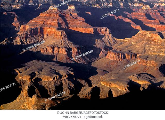 Evening light and shadows define buttes, view northeast from Hopi Point, South Rim, Grand Canyon National Park, Arizona, USA