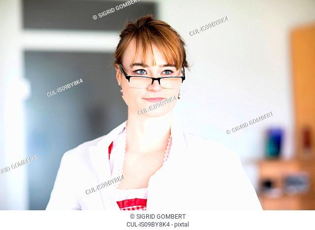 Portrait of woman wearing eye glasses