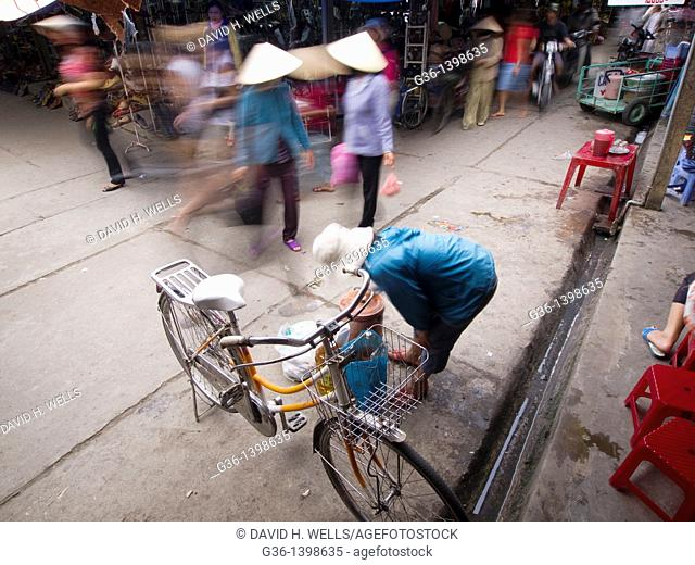 Bicycle parked in market in Hoi An, Vietnam