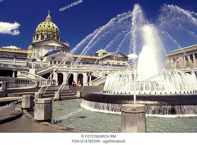 State Capitol, State House, Harrisburg, Pennsylvania, Fountain in the Capitol Complex of the Capitol Building in Harrisburg the capital city in the state of...