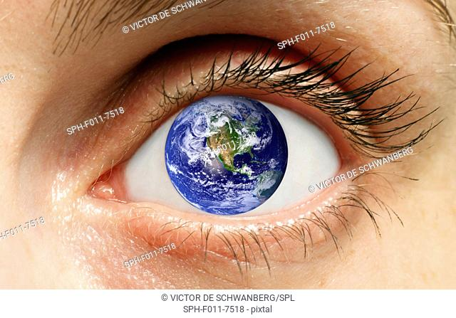 Human eye with planet earth, computer artwork