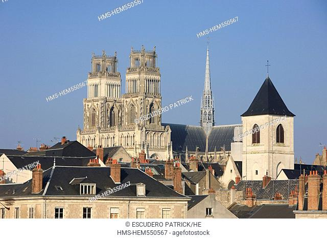 France, Loiret, Orleans, facades of Quai du Chatelet and Ste Croix cathedral in the background