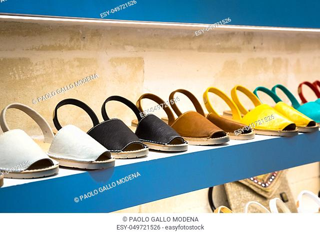 Traditional Menorca sandals - named Avarca - in exposition