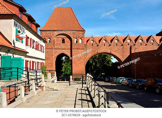 Castle tower at the old city wall of Torun built in 1260 by the Order of Teutonic Knights - Poland