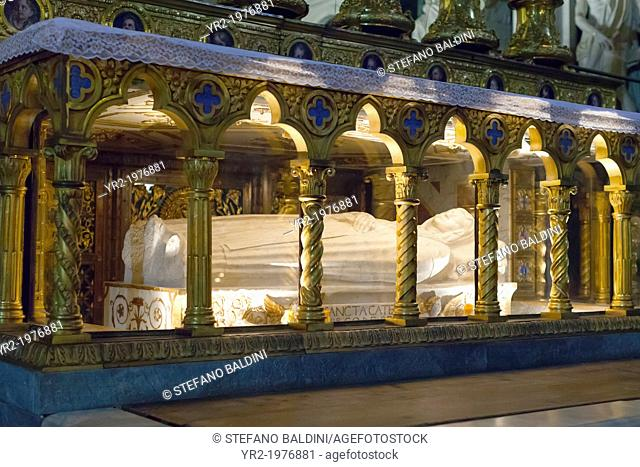 Sarcophagus of Saint Catherine of Siena beneath the high altar, basilica of Saint Mary above Minerva, Santa Maria sopra Minerva, Rome, Italy