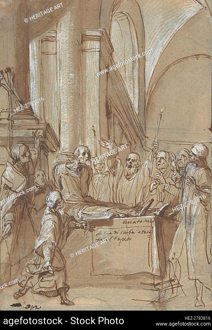 Raymond Diocrès Speaking During His Funeral (from the Life of Saint Bruno of Cologne), 1628-29. Creator: Daniele Crespi