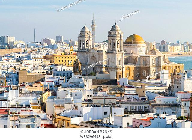 View of the Santa Cruz Cathedral seen from the Tavira Tower, Cadiz, Andalusia, Spain, Europe