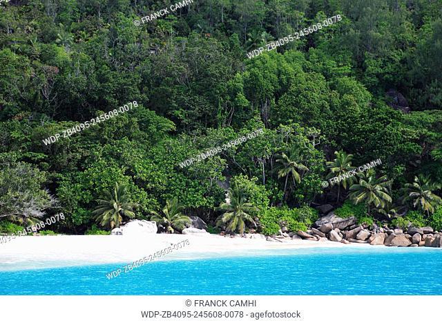 beach of silhouette island in seychelles indian ocean