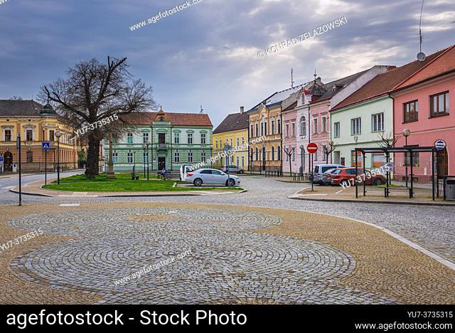 Tenement houses on the Saint Andrew Square in Uhersky Ostroh city in Zlin Region of Moravia in Czech Republic