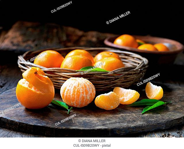 Fresh organic fruit, seedless tangerines with leaves