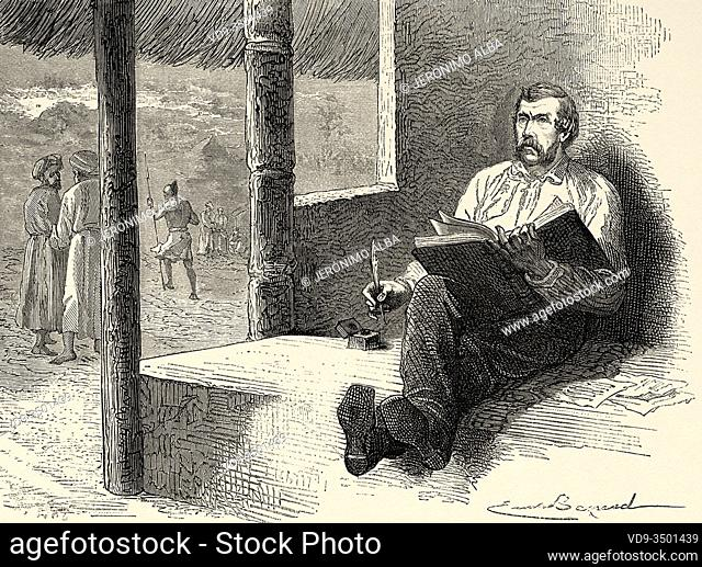 Portrait of David Livingstone (1813 - 1873) Scottish missionary and explorer writing in his diary at Ujiji From Afrika, travel and exploration by Henry Morton...