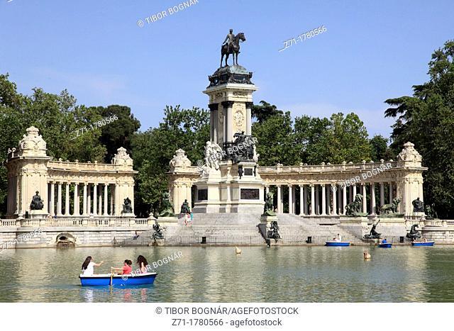 Spain, Madrid, Alfonso XII Monument, Parque del Buen Retiro