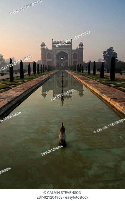 Taj Mahal gateway entrance during sunrise