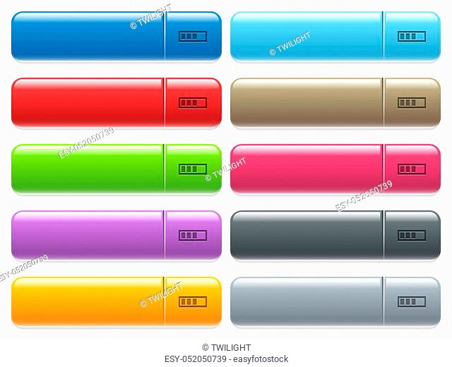 Progressbar engraved style icons on long, rectangular, glossy color menu buttons. Available copyspaces for menu captions