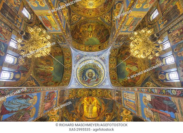 Ceiling and Wall Frescoes, Church of the Savior on Spilled Blood, UNESCO World Heritage Site, St Petersburg, Russia