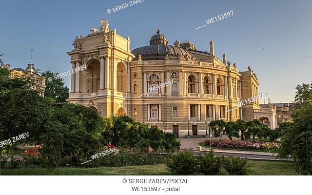 Odessa National Opera and Ballet Theater in a summer morning