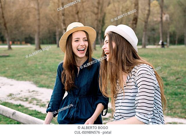 Happy girlfriends in park
