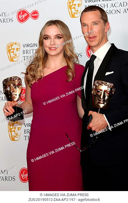 May 12, 2019 - London, London, United Kingdom - Image licensed to i-Images Picture Agency. Benedict Cumberbatch with his Leading Actor award and Jodie Comer...