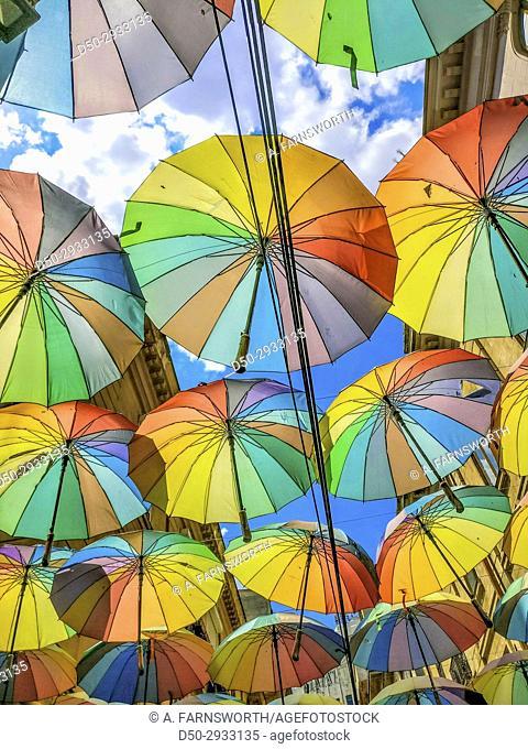 BUCHAREST, ROMANIA Colorful umbrellat outdoor restaurant, a symbol of Bucharest